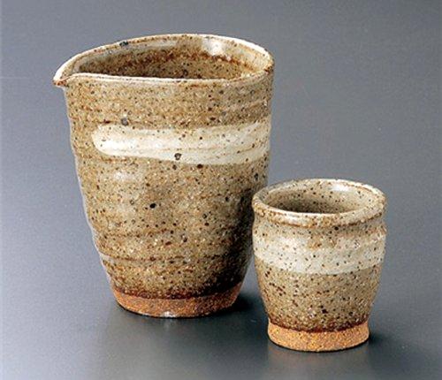 GREY-GLAZE Tohki Japanese Pottery SAKE Set 37inches Set of 2 SAKE Sets Japanese original Porcelain