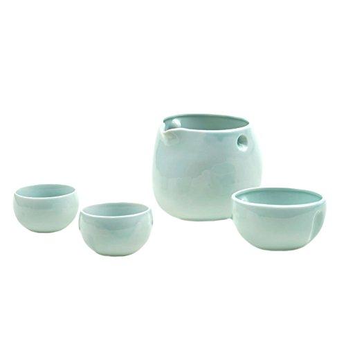 Mino-yaki Japanese Pottery Sake Set 126 oz Wine Half Bottle Size Sake Decanter 2 Guinomi Sake Cups - Pale Sky Blue Japanese Crafts Sakura