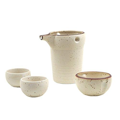 Mino-yaki Japanese Pottery Sake Set 12 oz Sake Carafe 2 Guinomi Sake Cups - White Matte Finish Japanese Crafts Sakura