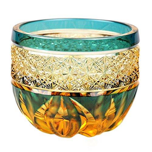Crystal Edo Kiriko Guinomi Sake Cup Design Cut Glass Hibana Fire Flame - Green x Amber Japanese Crafts Sakura