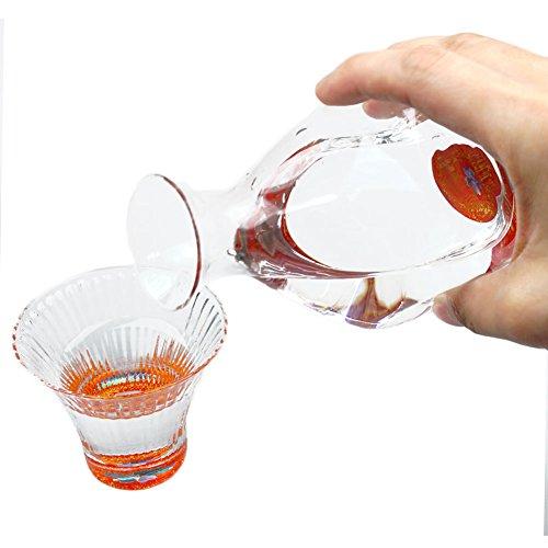 Japanese Urushi Raden Mother Of Peral Inlay Glass Drinking Set Cherry Blossom Design Sake Pither Guinomi Sake Cups - 2-piece Set Red Japanese Crafts Sakura