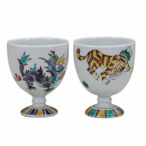 Jpanese traditional ceramic Kutani ware Set of 2 Guinomi Sake cup Dragon and tiger With wooden box ktn-K5-1166