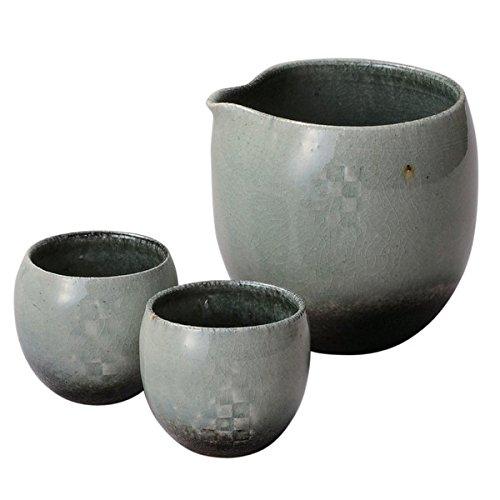 Japanese Ceramic Shigaraki ware Mosaic sake tokkuri bottle and 2 guinomi cups 3-1581