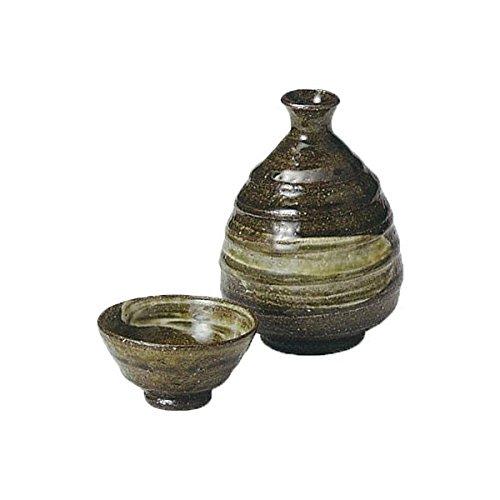 Japanese Ceramic Shigaraki ware Set of Sake tokkuri bottle server and guinomi cup Bidoro hakeme 3-1223