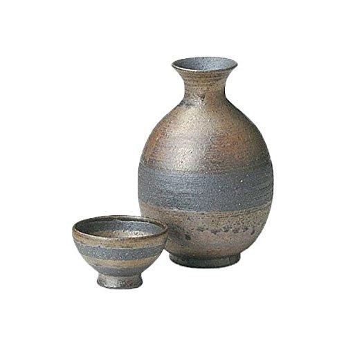 Japanese Ceramic Shigaraki ware Set of Sake tokkuri bottle server and guinomi cup Karakane 3-1205
