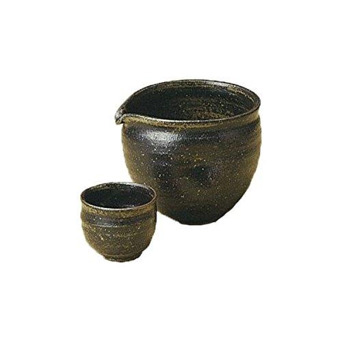 Japanese Ceramic Shigaraki ware Set of Sake tokkuri bottle server and guinomi cup Yotsuyu 3-1239