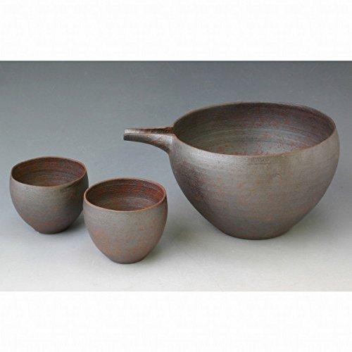 Kiyomizu-kyo yaki ware Japanese Sake guinomi cup and tokkuri bottle Nanban with paper box Ceramic RHN175