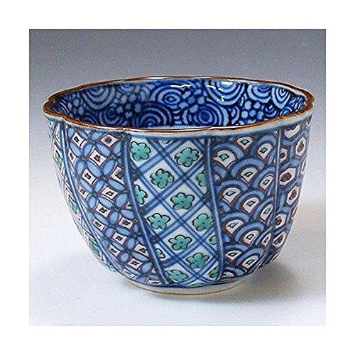 Kiyomizu-kyo yaki ware Japanese Sake guinomi cup warikomon with wooden box Porcelain GCY064