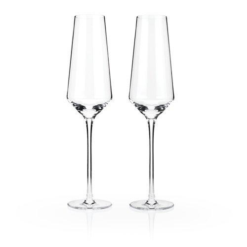 Raye Crystal Champagne Flutes by Viski – 8 oz Set of 2 Rosé Prosecco glasses