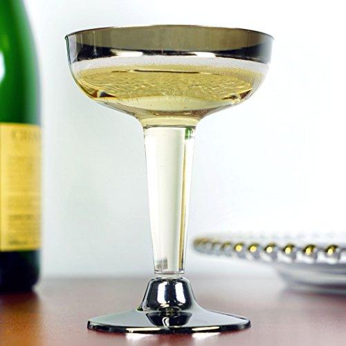 Efavormart 55pcs - Silver Rimmed 5oz Disposable Plastic Martini Glass
