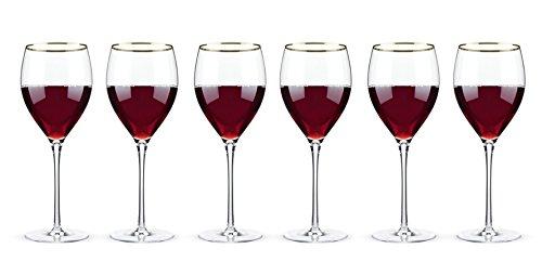 Belmont - Gold Rimmed Crystal Red Wine Glasses Set of 6