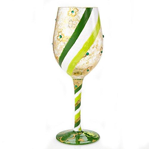 Lolita Shamrock St Patricks Day Artisan Hand Painted Wine Glass