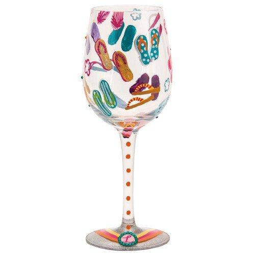 Lolita Flip Flops Too Artisan Painted Wine Glass Gift
