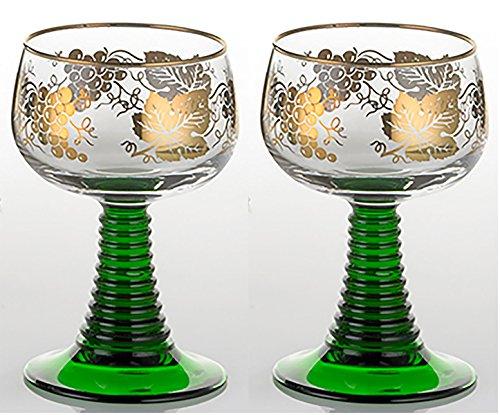 Set of 2 German Rhein Glass Roemer Vintage Goblet Wine Glass w Gold-Leaf Rim and Grape Pattern Vintage Wine Glass Goblet