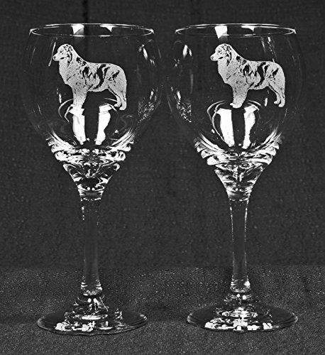 Muddy Creek Reflection Australian Shepherd Dog Laser Etched Large Red Wine Glass Set 2 20RW