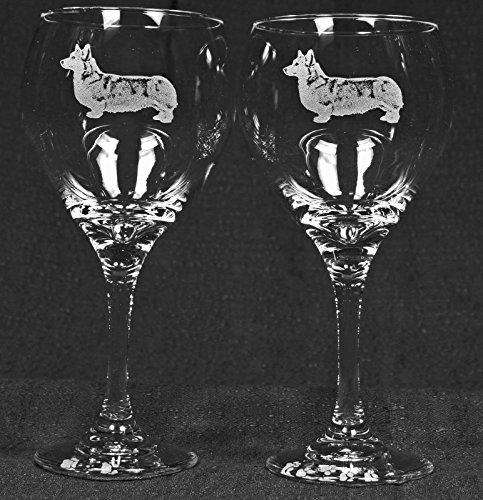 Muddy Creek Reflection Pembroke Corgi Dog Laser Etched Large Red Wine Glass Set 2 20RW
