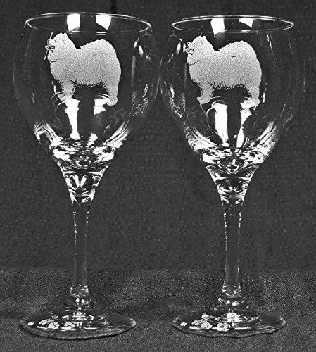 Muddy Creek Reflection Samoyed Dog Laser Etched Large Red Wine Glass Set 2 20RW