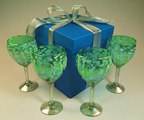 Hand blown wine glasses pistachio white confetti with gift box from Mexico 14 oz