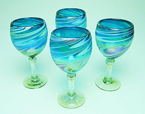 Wine Glasses Hand Blown Glass Turquoise White Iridescent Swirl 14 oz Set of 4