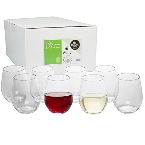 Unbreakable Wine Glasses - 100 Tritan - Shatterproof Reusable Dishwasher Safe Set of 8 Stemless by DEco