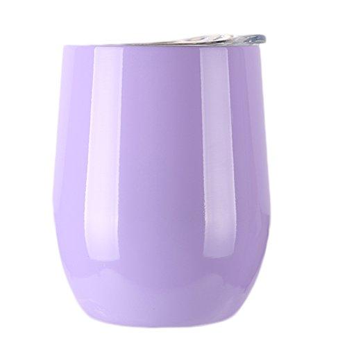 Beautymei Stainless Steel Wine Glasses - Set of 4 Large Elegant Stemless Goblets 9 oz - Unbreakable Shatterproof Metal Drinking Tumblers Light Purple