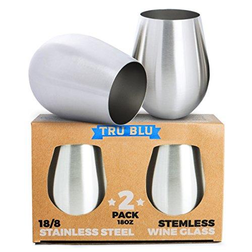 Stainless Steel Wine Glasses - Set of 2 Large Elegant Stemless Goblets 18 oz - Unbreakable Shatterproof Metal Drinking Tumblers