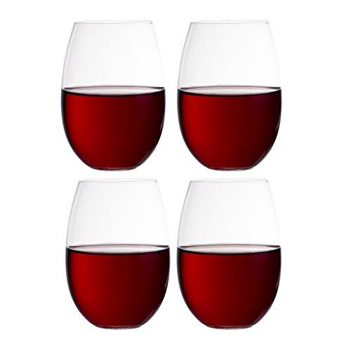 European Stemless White Wine Cups 4-Piece Set Classic Craftsmanship Elegant Hosting Glassware Modern Heavy-Duty Borosilicate Glass Crystal  Dishwasher Safe 118oz Each