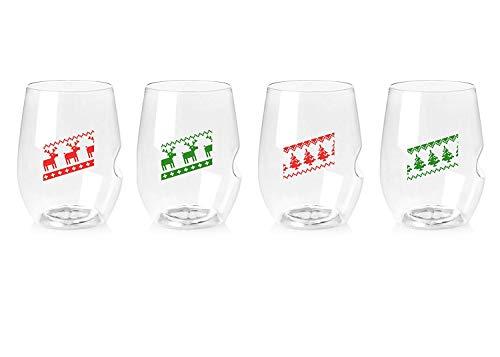 Govino 16 Ounce Dishwasher Safe Wine Glasses 4 Pack - Custom Holiday Sweaters