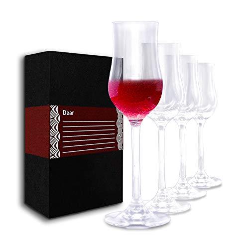 Professional Liqueur Glasses Set 4 or 6 pack Hard Durable Lead-Free Crystal Port Wine Glass 4oz
