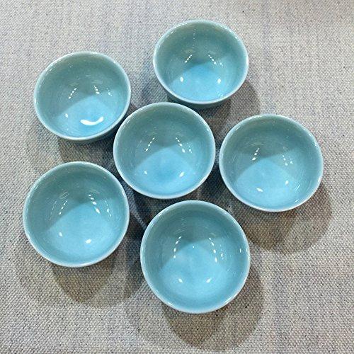 Top Grade Chinese Celadon Kunfu Tea Small Teacup Set of 6 Bat65ml