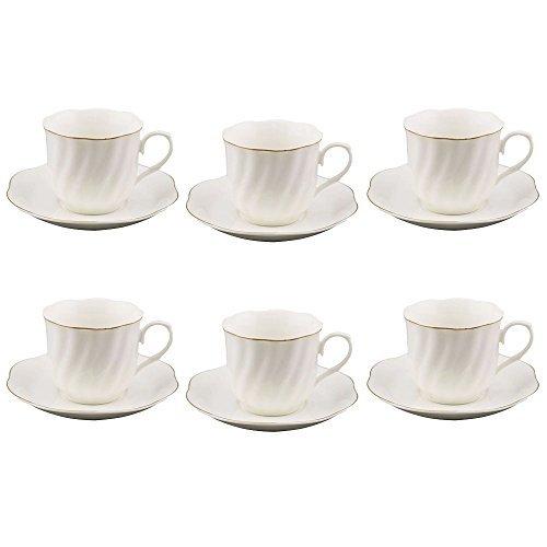 28 OZ Espresso Cup and Saucer Set of 6 Golden Edge Porcelain Bone China White Tea Cup Set of 6