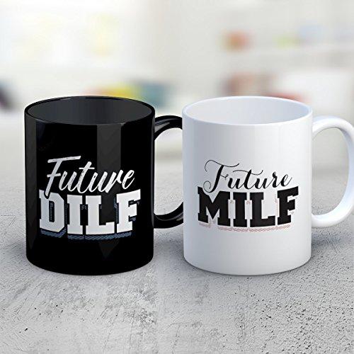 COUPLES Coffee Mug - Future MILF DILF COUPLES Funny 11 oz Black White Tea Cups - Unique COUPLES Sayings Gag Gifts