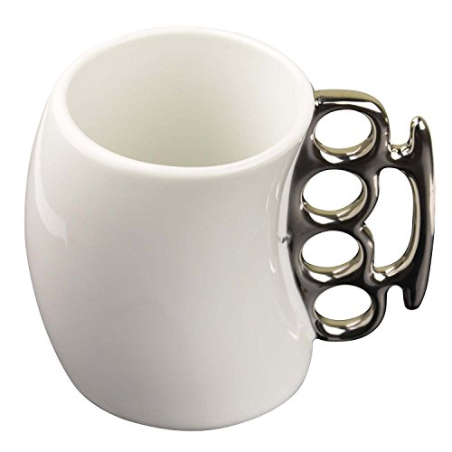 MOACC Fist Cup Brass Knuckle Duster Coffee Mug Creative Ceramic Coffee Milk Tea Fist Mug Cup Cool Gift White with Silver Handle