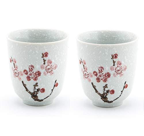 Traditional Japanese Style Ceramic Tea Cups 6 fl oz Set of 2 Snow Cherry Blossom Design