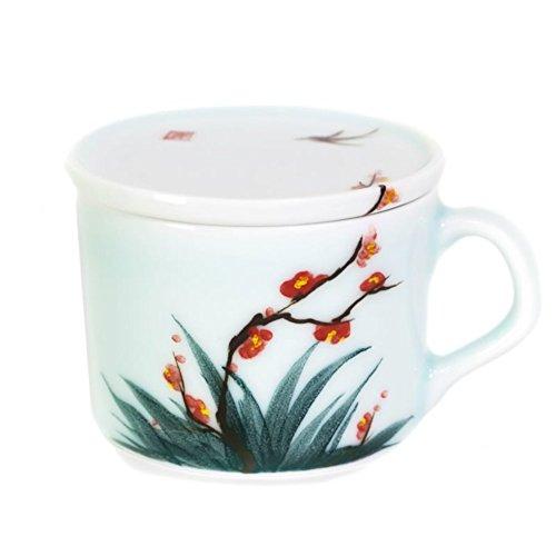 Creative ceramic coffee mug hand-painted coffee mug with lid red tea cups glass-A