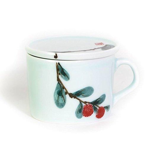 Creative ceramic coffee mug hand-painted coffee mug with lid red tea cups glass-D