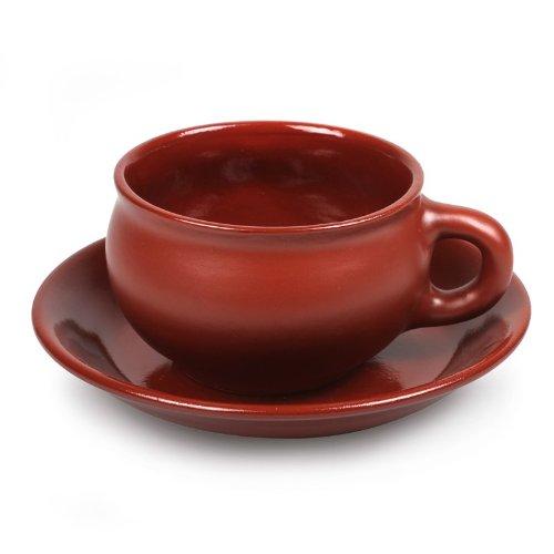 Stoneware Teacup and Saucer Set Silk