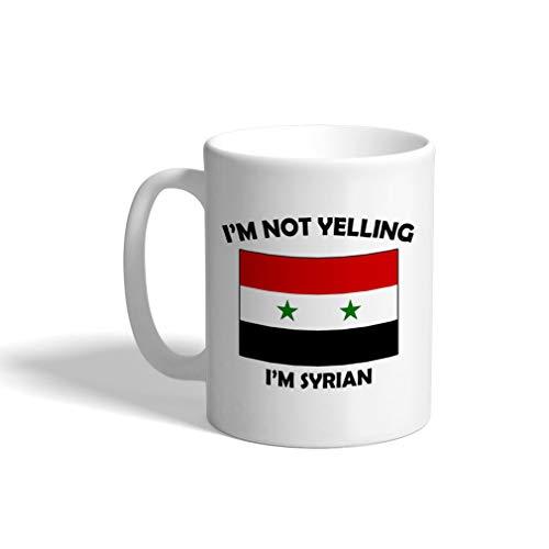 Custom Funny Coffee Mug Coffee Cup IM Not Yelling I Am Syrian Syria White Ceramic Tea Cup 11 OZ Design Only