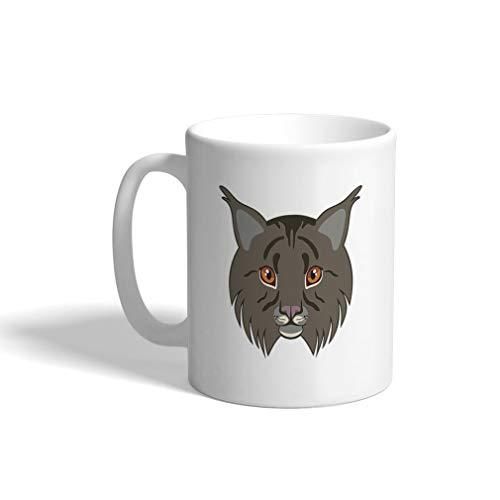 Custom Funny Coffee Mug Coffee Cup Lynx Head Animals White Ceramic Tea Cup 11 OZ Design Only