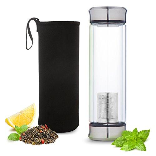 Hot or Cold Glass Tea Tumbler Infuser Bottle – Tea Travel Mug with Flavor Dispenser - Loose Leaf Tea Cup with Strainer Filter 400ml - Insulating Sleeve - Black