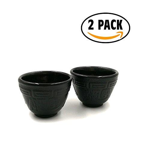 JUEQI 2 Pack Cast Iron Teacup  Tea Cup  35 oz Matte Black