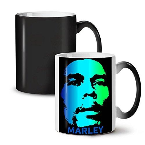Bob Marley Serious Face Green Black Colour Changing Tea Coffee Ceramic Mug 11 oz  Wellcoda