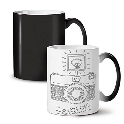 Camera Smile Photo Funny Technology Black Colour Changing Tea Coffee Ceramic Mug 11 oz  Wellcoda
