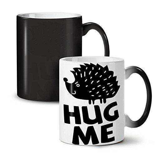 Hug Me Hedgehog Fun Humor Art Black Colour Changing Tea Coffee Ceramic Mug 11 oz  Wellcoda
