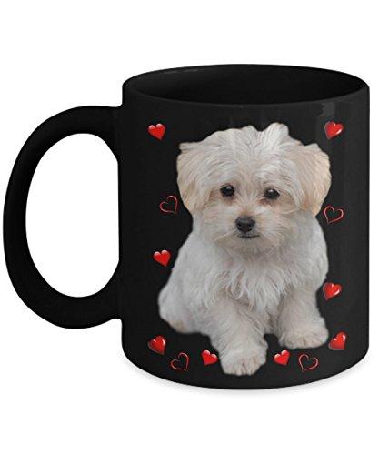 I Love Maltese Dog Coffee Mugs - Pet Mug for Maltese Lovers - Black Tea Mug with Hearts