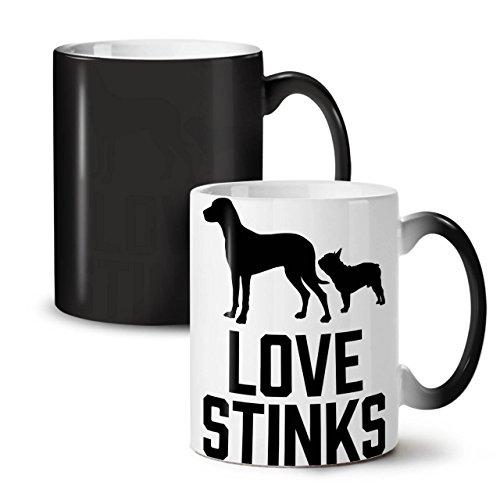 Love Stinks Dog Funny Animal World Black Colour Changing Tea Coffee Ceramic Mug 11 oz  Wellcoda