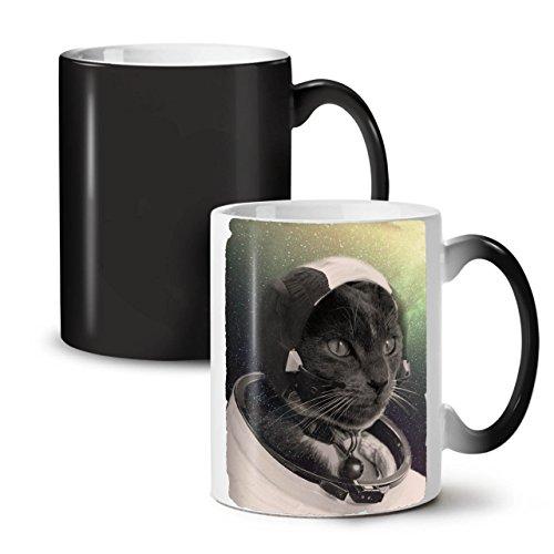 Pilot Animal Space Cat Space Animal Black Colour Changing Tea Coffee Ceramic Mug 11 oz  Wellcoda