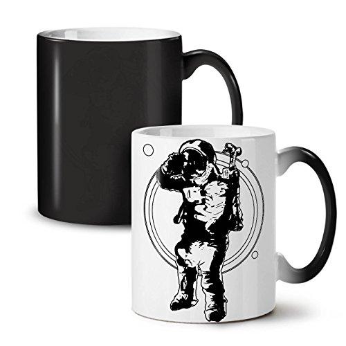 Pilot Cosmos Galaxy Space Galaxy Man Black Colour Changing Tea Coffee Ceramic Mug 11 oz  Wellcoda