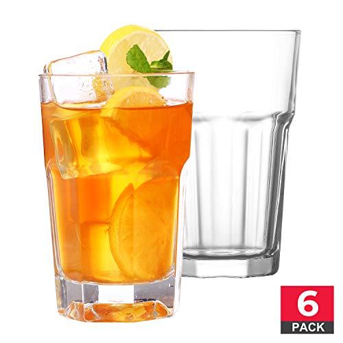 Drinking Glasses Set Premium Quality Clear Glass Tumbler 12 ¼ oz 6 Piece Glassware
