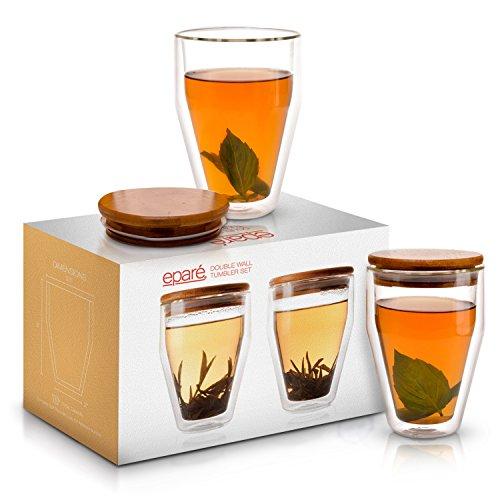 Eparé Glass Tumbler Lid Set - Double Wall Borosilicate Glasses - Clear Insulated Cups - Large Coffee Latte Tea Mugs